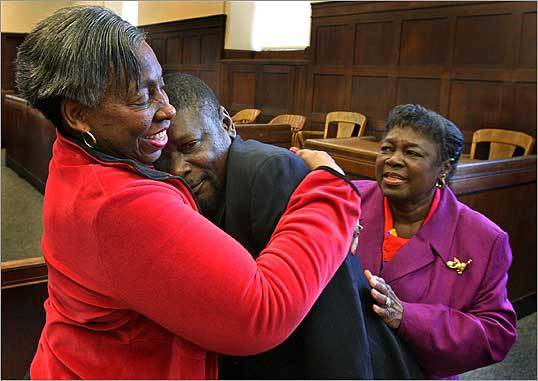 Grace Roberts held her godchild Guy Randolph, who was exonerated off all charges at a hearing in Suffolk County Superior Court. A judge said Randolph was wrongly convicted more than 17 years after he was first arrested in the sexual assault on a 6-year-old girl.