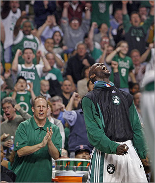 After Leon Powe (not pictured) hit a shot in the fourth quarter, putting Boston ahead of the Hawks, 87-51, Kevin Garnett jumped off the bench and roared his approval.