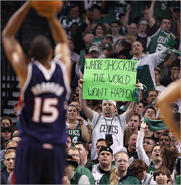 As Al Horford took a foul shot late in the game, a fan let him know that the Cinderella story of his team was about to come to an end.