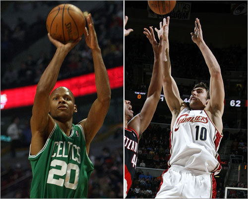 Shooting guard In the Celtics' first-round series with the Hawks, Ray Allen (left) averaged 16.1 points and 3.1 assists per game, while shooting 42 percent from the field, including 40 percent from behind the arc, where he connected on 18 of 45 3-pointers. In the Cavs' first-round series with the Wizards, old friend Wally Szczerbiak averaged 10.8 points and 1.5 assists per game, while shooting 40 percent from the field, including 35 percent from behind the arc, where he connected on 10 of 29 3-pointers.