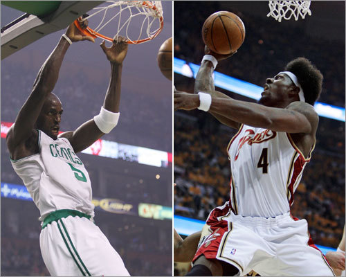 Power forward In the Celtics' first-round series with the Hawks, Kevin Garnett (left) averaged 21 points, 8.9 rebounds, 3.9 assists, 2 steals, 1.4 blocks, and 36.7 minutes per game. In the Cavs' first-round series with the Wizards, Ben Wallace averaged 3.2 points, 7.2 rebounds, 1.3 assists, 0.5 steals, 1.3 blocks, and 23.2 minutes per game.
