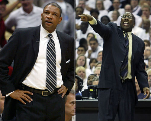 Coaching The head coaching matchup features Boston's Doc Rivers (left) against Cleveland's Mike Brown. <!-- // define variables var date = new Date(); var current_time = date.getTime(); // write SCRIPT tag to browser document.writeln(' '); // -->