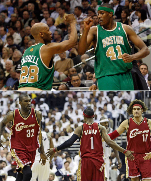 The Bench James Posey (41) and Sam Cassell (top) were two of the top contributors off the Celtics bench, along with big men Leon Powe and PJ Brown. Posey averaged 7.4 points and 4.3 rebounds per game off the pine in the series against Atlanta. Cleveland leaned heavy on its bench against the Wizards in the first round, with Daniel Gibson (1), Joe Smith (32), and Anderson Varejao (bottom) all averaging better than 18 minutes per game. Gibson averaged 11.8 points per game (third on the team) against Washington, while Smith and Varejao combined to average more than 10 boards per contest. Overall, the Cavs' bench averaged 28.4 points per game during the first round of the playoffs, while the Celtics' bench averaged 25.2 points per contest.