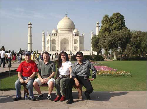 On a recent trip, George T. Keverian, Timothy Leary, Debra Lackas, and Dheeraj Mehra visited the Taj Mahal in Agra, India. George is an avid Red Sox fan from Medfield.