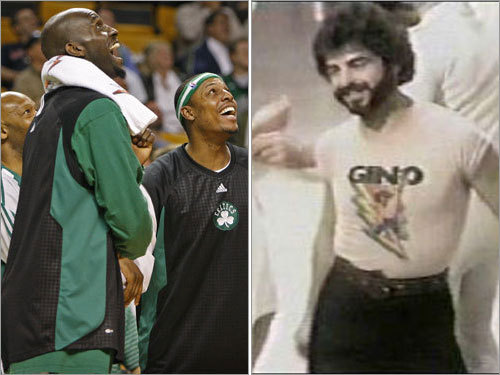 3. There's this guy named Gino Once known only to the most hardcore Celtics fans, 'Gino' has become a public phenomenon this season. 'Gino' is the bearded dancer on an American Bandstand clip the Celtics play on the Jumbotron when a game is in the bag. He's the modern-day version of Red Auerbach's victory cigar. His name isn't likely to be Gino, but he's wearing a T-shirt of singer Gino Vannelli, so the name has stuck with Celtics fans. The clip is also popular with Celtics players (pictured), who are often seen looking up and laughing at Gino's moves.