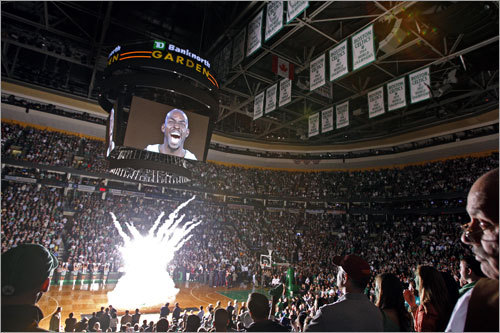 4. The pregame intro is pretty cool Sports montages are always great, but the Celtics have one of the best, punctuated by Kevin Garnett filling the Jumbotron and screaming as fireworks explode and fans erupt. You've got to go to at least one game to experience it.