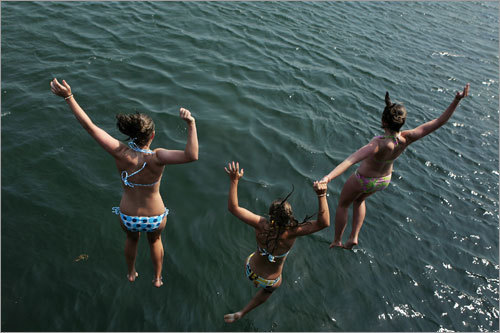 Tara, Emily, and Allie jump from Dunns Bridge into the Salt Pond.