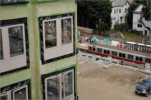 The Red Line at Ashmont station can be seen in this July 2007 photo from the then under-construction Carruth.