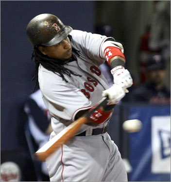 Homer No. 498 A day after sitting out with a sore hamstring, Ramirez wasted no time blasting an offering from Twins pitcher Livan Hernandez over the wall at the Metrodome on May 13, 2008. With the Sox leading 1-0 at the time, Manny hit the ball to right field on a 1-1 count.