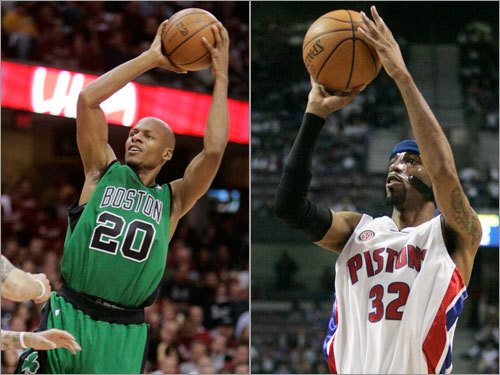 Shooting guards Both Ray Allen and Richard Hamilton are former UConn standouts, but the similarities, at least as they apply to the playoffs, end there. Allen was ice cold against the Cavaliers, averaging just over 9 points per game in the series and shooting a combined 20 of 61 from the field. Hamilton, on the other hand, averaged 23.6 points per game against Orlando, up from his season average of 17.3.