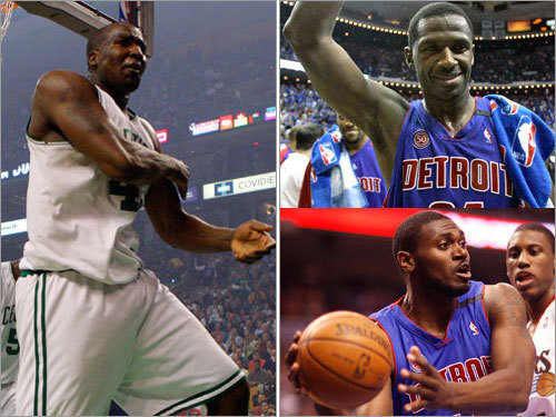 Centers Kendrick Perkins wasn't much of a factor against the Cavaliers, averaging 5 points and 5 rebounds per game during the series. The Pistons will go with a two-headed monster -- Antonio McDyess (top left) and Jason Maxiell (bottom left), to guard Perkins/Leon Powe. Combined, the duo averaged about 13 points and 12 rebounds per game against the Magic.