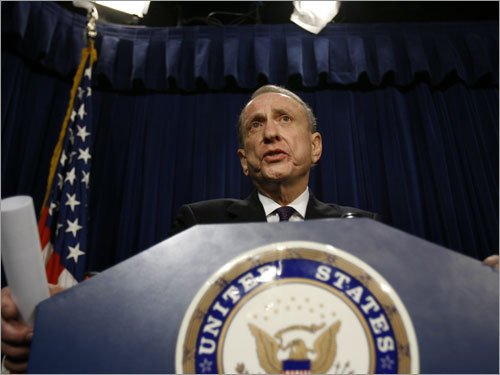 Senator Arlen Specter speaks during a press conference in which he asked for an independent investigation into Spygate.