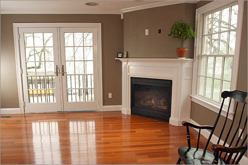 Cherry Wood Floors White Walls with Trim 500 x 333