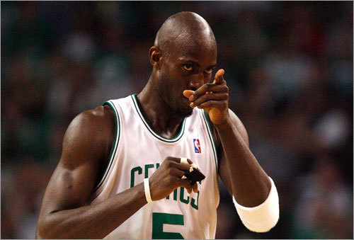 Garnett gestured toward a teammate in Game 7. He scored 13 points and grabbed 13 rebounds in the game.