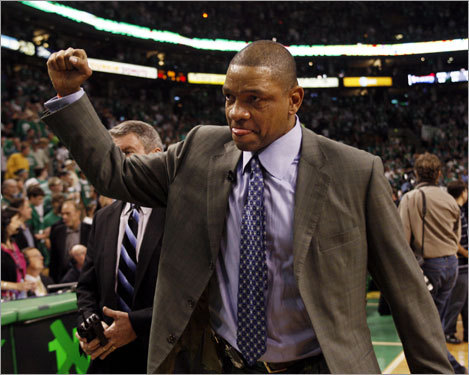 Celtics coach Doc Rivers pumped his fist after Boston's victory.