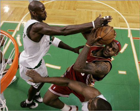 Garnett blocked one of James's 29 shots in Game 7.