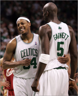 Pierce and Kevin Garnett hugged in the final minutes of the fourth quarter.