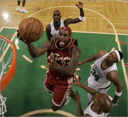 Here, LeBron gets the best of Garnett.
