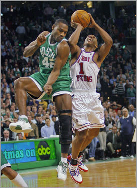 4. This play won't happen again Tony Allen (left) is not in the playoff rotation, so he won't be there to foul Chauncey Billups at the end of a tie game like he did on Dec. 19. Without that ending, the Celtics could have been 3-0 against the Pistons during the regular season. Looks like someone's got Detroit's number.
