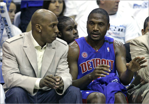 3. The Pistons are old Chauncey Billups (left) is 31. Lindsey Hunter (right) is 37. Tayshaun Prince is the only Detroit starter under 30. The Celtics are no spring chickens, but their starting point guard is a 22-year-old ball of energy, and their starting center is 23. The Pistons have gone to six straight conference finals, which you can chalk up to either experience or old age. Let's call it old age.