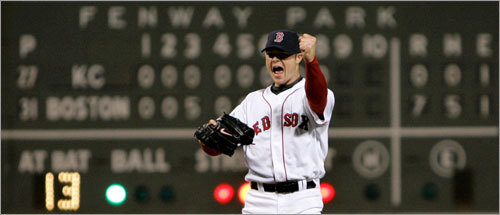 Lester pumped his fist after recording the final out, with zeros lining the Green Monster behind him.