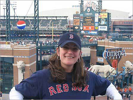 Former Bostonian Renee Wooster, now living in Michigan, celebrated her 32nd at Comerica Park in Detroit by watching the Red Sox play the Tigers.