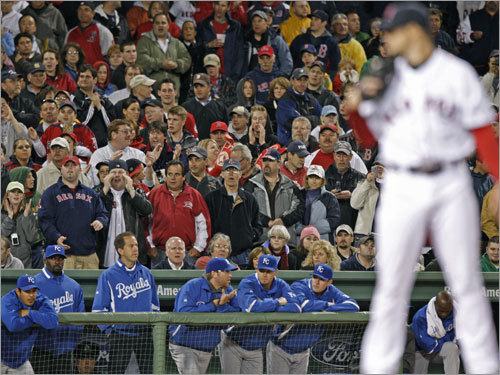 The crowd stood in support of Lester as he worked on his historic outing.