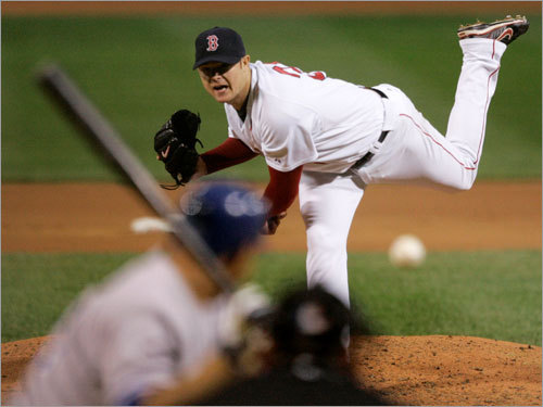 Lester's fastball was strong all night, and he used it here to finish off Billy Butler in the eighth inning.