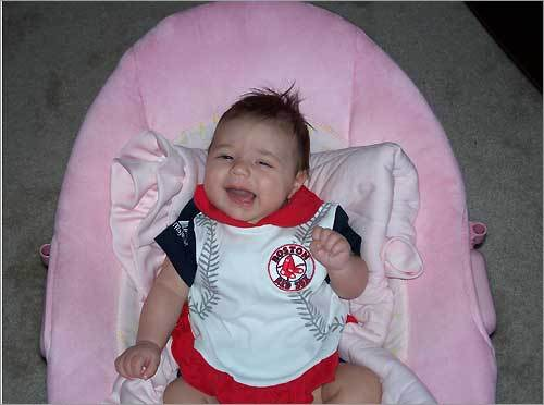 Young Red Sox fan Elyza wasn't too happy to see her team fall to the Devil Rays recently.