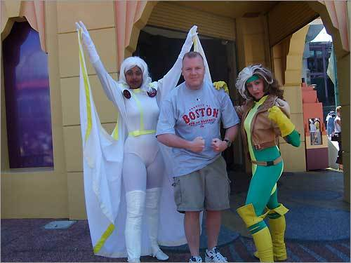 Michael Doty was joined by a pair of Marvel Super Heroes at Islands of Adventure, in Orlando, Fla.