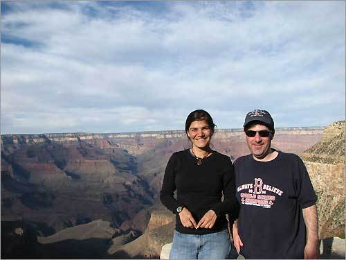 Longtime friends George Anderson and Lara Becker show off their Red Sox pride at the Grand Canyon.