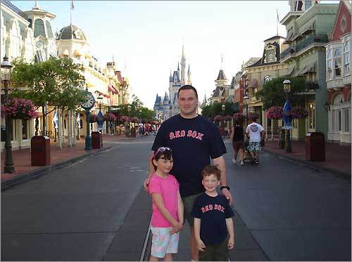 Mansfield Red Sox fans (L-R) Meghan, Ted, and Drew saw a lot of other members of Red Sox Nation while at Walt Disney World in April.