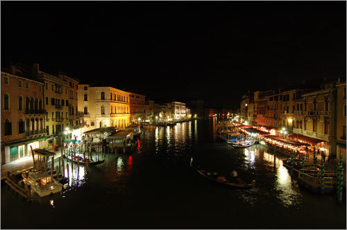 A wide angle view of glittering Venice.