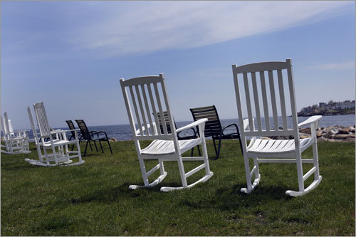 Chairs overlook the ocean at the Union Bluff Hotel.