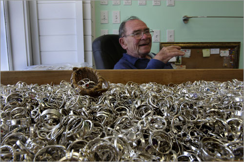 Bill & Bob's jewelry store on Railroad Avenue has a tray containing 23,000 sterling silver rings, according to owner Bob Fennelly.