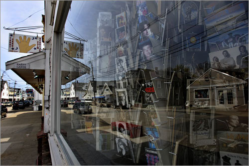 A shop on Railroad Avenue in York Beach sells postcards.