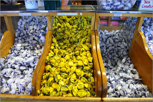 Among the flavors of salt water taffy offered at The Goldenrod in York Beach are maple walnut, molasses, peanut butter, and blueberry.