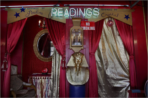 Pauline Mitchell's palm-reading salon, Readings by Pauline on Railroad Avenue, includes a likeness of King Tut.