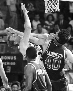 After the Celtics won their meeting in the 1985 Eastern Conference semifinals, the teams met again in the 1987 Eastern Conference finals, which featured a fight between Larry Bird and Bill Laimbeer in Game 3. In retaliation, Robert Parish punched Laimbeer in Game 5, an action that got him suspended for Game 6.
