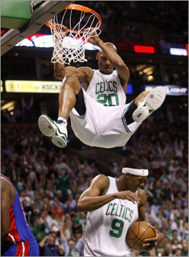 Celtics guard Ray Allen (3 for 10) celebrates one of the few shots that he didn't miss in Game 1 -- a dunk.