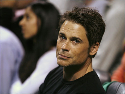 Actor Rob Lowe also made a Game 1 appearance.