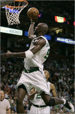 Garnett looked like he just flew at the basket on this attempt.