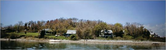 Most of the 36 cottages on Peddock's Island are occupied, but some are vacant and decaying.