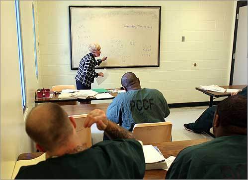 Inmates attended Rena Almeida's GED-level class at the Plymouth County Correctional Facility.