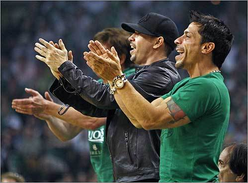 Donnie Walhberg and Danny Wood of New Kids on the Block were part of the crowd cheering at the Celtics-Cavaliers Game 7 at the TD Banknorth Garden.