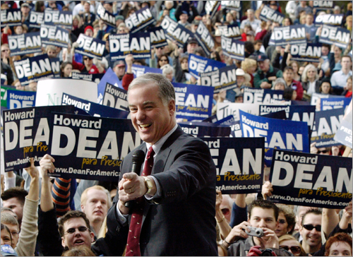 Former Vermont governor Howard Dean came to the national stage in 2004 as a Democratic presidential candidate. Touting his early opposition to the Iraq war and offering tough talk against the Republican Party, the fiery Dean rode a wave of grassroots support to become the front-runner for a period of time. At left, Dean addressed supporters in Tuscon, Ariz., in February 2004.