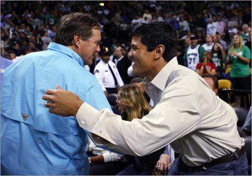 With 5:27 to play in the third quarter of Game 5, the Jumbotron at the Garden played a quick montage of highlights featuring Tedy Bruschi (his interception return for a touchdown from a few years back that was followed by snow tosses) and Bill Belichick (him being doused by water while hugging his father after a Super Bowl victory).