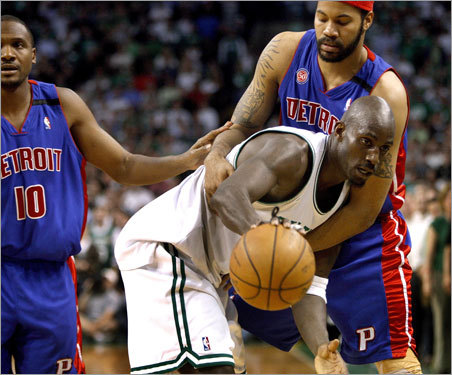 Wallace had a hold of Garnett, who was sent to the line with three seconds left in the game.