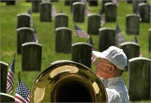 Frank Zarba, who spent 16 years in the National Guard, brought the Frank Zarba band to play at the Memorial Day ceremony at the Mount Hope Cemetery in Mattapan.