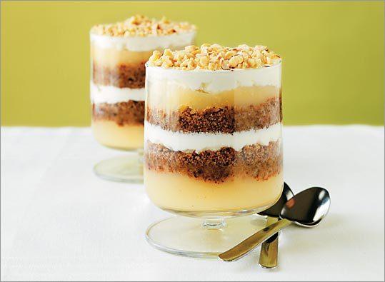 Cream, crumb, and applesauce make up a traditional Scandinavian dessert, Veiled Country Lass.